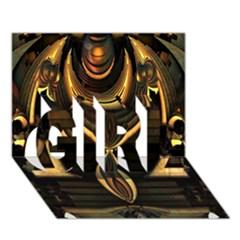 Golden Metallic Geometric Abstract Modern Art Girl 3d Greeting Card (7x5)
