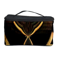 Golden Metallic Geometric Abstract Modern Art Cosmetic Storage Case by CrypticFragmentsDesign