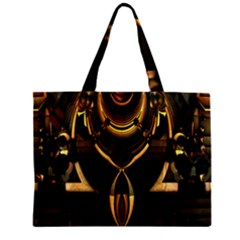 Golden Metallic Geometric Abstract Modern Art Zipper Mini Tote Bag by CrypticFragmentsDesign