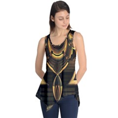 Golden Metallic Geometric Abstract Modern Art Sleeveless Tunic by CrypticFragmentsDesign