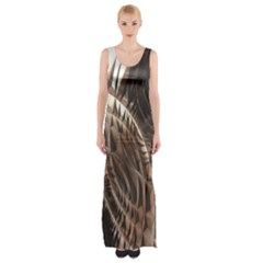Metallic Copper Abstract Modern Art Maxi Thigh Split Dress by CrypticFragmentsDesign