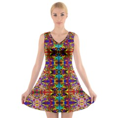 Psychic Auction V Neck Sleeveless Skater Dress