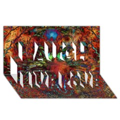 Boho Bohemian Hippie Floral Abstract Laugh Live Love 3d Greeting Card (8x4)  by CrypticFragmentsDesign