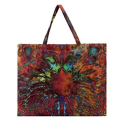 Boho Bohemian Hippie Floral Abstract Zipper Large Tote Bag by CrypticFragmentsDesign