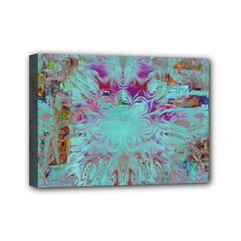 Retro Hippie Abstract Floral Blue Violet Mini Canvas 7  X 5  by CrypticFragmentsDesign