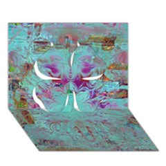 Retro Hippie Abstract Floral Blue Violet Clover 3d Greeting Card (7x5)  by CrypticFragmentsDesign