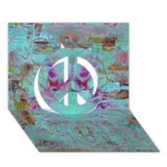 Retro Hippie Abstract Floral Blue Violet Peace Sign 3d Greeting Card (7x5)  by CrypticFragmentsDesign