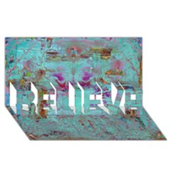 Retro Hippie Abstract Floral Blue Violet Believe 3d Greeting Card (8x4)  by CrypticFragmentsDesign