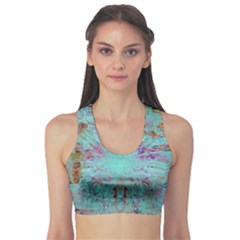 Retro Hippie Abstract Floral Blue Violet Sports Bra by CrypticFragmentsDesign