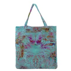 Retro Hippie Abstract Floral Blue Violet Grocery Tote Bag by CrypticFragmentsDesign