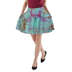 Retro Hippie Abstract Floral Blue Violet A Line Pocket Skirt