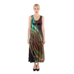 Metallic Abstract Copper Patina  Sleeveless Maxi Dress by CrypticFragmentsDesign