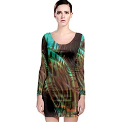 Metallic Abstract Copper Patina  Long Sleeve Bodycon Dress by CrypticFragmentsDesign