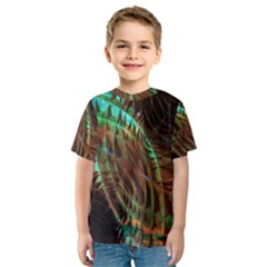 Metallic Abstract Copper Patina  Kid s Sport Mesh Tee by CrypticFragmentsDesign