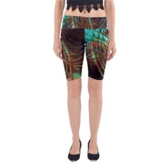 Metallic Abstract Copper Patina  Yoga Cropped Leggings by CrypticFragmentsDesign