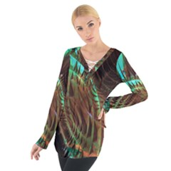 Metallic Abstract Copper Patina  Women s Tie Up Tee by CrypticFragmentsDesign