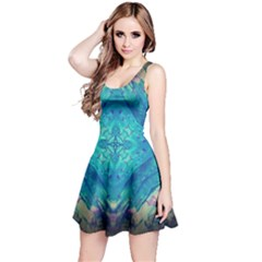 Boho Hippie Tie Dye Retro Seventies Blue Violet Reversible Sleeveless Dress by CrypticFragmentsDesign
