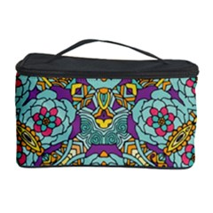 Mariager - Bold blue,purple and yellow flower design Cosmetic Storage Case by Zandiepants