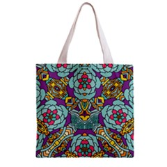 Mariager   Bold Blue,purple And Yellow Flower Design Zipper Grocery Tote Bag by Zandiepants