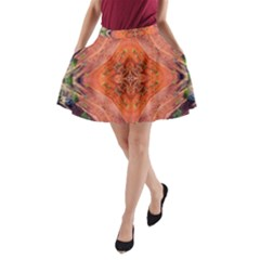 Boho Bohemian Hippie Floral Abstract Faded  A Line Pocket Skirt by CrypticFragmentsDesign