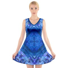 Boho Bohemian Hippie Tie Dye Cobalt V Neck Sleeveless Skater Dress