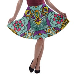 Mariager   Bold Blue,purple And Yellow Flower Design   A-line Skater Skirt by Zandiepants