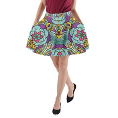 Mariager   Bold Blue,purple And Yellow Flower Design   A-Line Pocket Skirt by Zandiepants