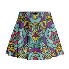 Mariager   Bold Blue,purple And Yellow Flower Design   Mini Flare Skirt