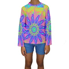 Neon Flower Sunburst Pinwheel Kid s Long Sleeve Swimwear by CrypticFragmentsColors