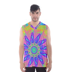 Neon Flower Sunburst Pinwheel Men s Basketball Tank Top by CrypticFragmentsColors