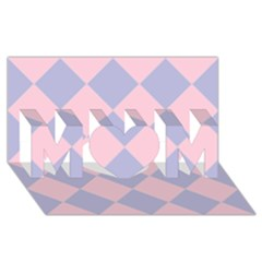 Harlequin Diamond Argyle Pastel Pink Blue Mom 3d Greeting Card (8x4)  by CrypticFragmentsColors