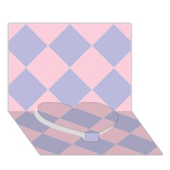 Harlequin Diamond Argyle Pastel Pink Blue Heart Bottom 3d Greeting Card (7x5)  by CrypticFragmentsColors