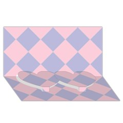 Harlequin Diamond Argyle Pastel Pink Blue Twin Heart Bottom 3d Greeting Card (8x4)  by CrypticFragmentsColors