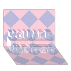 Harlequin Diamond Argyle Pastel Pink Blue You Are Invited 3d Greeting Card (7x5)  by CrypticFragmentsColors