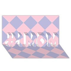 Harlequin Diamond Argyle Pastel Pink Blue #1 Mom 3d Greeting Cards (8x4)