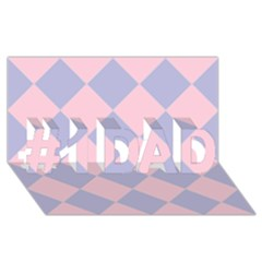 Harlequin Diamond Argyle Pastel Pink Blue #1 Dad 3d Greeting Card (8x4)  by CrypticFragmentsColors
