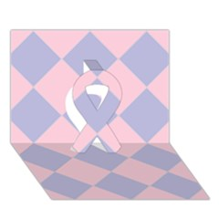 Harlequin Diamond Argyle Pastel Pink Blue Ribbon 3d Greeting Card (7x5)  by CrypticFragmentsColors