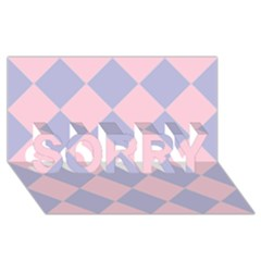 Harlequin Diamond Argyle Pastel Pink Blue Sorry 3d Greeting Card (8x4)  by CrypticFragmentsColors
