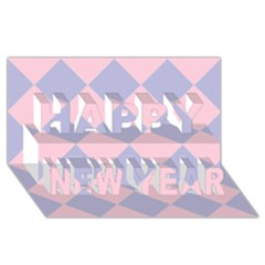 Harlequin Diamond Argyle Pastel Pink Blue Happy New Year 3d Greeting Card (8x4)  by CrypticFragmentsColors