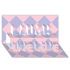 Harlequin Diamond Argyle Pastel Pink Blue Laugh Live Love 3d Greeting Card (8x4)  by CrypticFragmentsColors