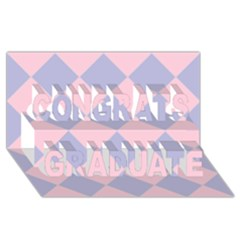 Harlequin Diamond Argyle Pastel Pink Blue Congrats Graduate 3d Greeting Card (8x4)  by CrypticFragmentsColors