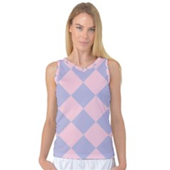 Harlequin Diamond Argyle Pastel Pink Blue Women s Basketball Tank Top by CrypticFragmentsColors