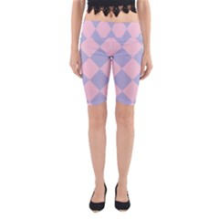 Harlequin Diamond Argyle Pastel Pink Blue Yoga Cropped Leggings