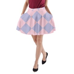 Harlequin Diamond Argyle Pastel Pink Blue A-Line Pocket Skirt by CrypticFragmentsColors