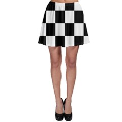 Checkered Flag Race Winner Mosaic Tile Pattern Skater Skirt by CrypticFragmentsColors