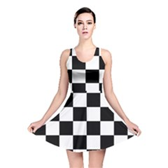Checkered Flag Race Winner Mosaic Tile Pattern Reversible Skater Dress by CrypticFragmentsColors