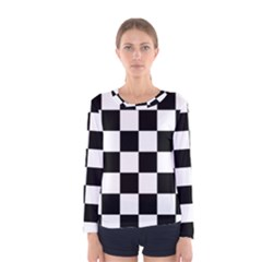 Checkered Flag Race Winner Mosaic Tile Pattern Women s Long Sleeve Tee