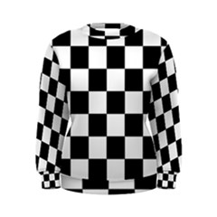 Checkered Flag Race Winner Mosaic Tile Pattern Women s Sweatshirt by CrypticFragmentsColors