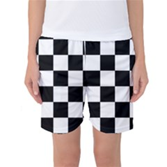 Checkered Flag Race Winner Mosaic Tile Pattern Women s Basketball Shorts by CrypticFragmentsColors