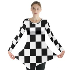Checkered Flag Race Winner Mosaic Tile Pattern Long Sleeve Tunic  by CrypticFragmentsColors